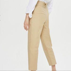 NWOTs TOPSHOP Lace Back Camel Crop Pants